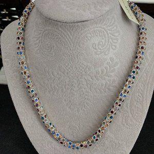 Anne AK Klein Crystal Multi-Color Tubular Necklace